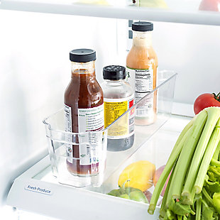 Home Basics Small Plastic Fridge Bin with Handle, Clear, , rollover