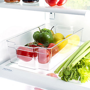 Home Basics X-Large Plastic Fridge Bin with Handle, Clear, , rollover