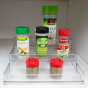 Home Basics 3 Tier Plastic Spice Rack, Clear, , large