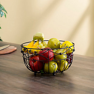Home Basics Arbor Collection Large Capacity Decorative Non-Skid Steel Fruit Bowl, Oil Rubbed Bronze, , rollover