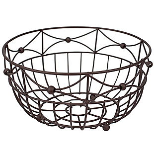 Home Basics Arbor Collection Large Capacity Decorative Non-Skid Steel Fruit Bowl, Oil Rubbed Bronze, , large