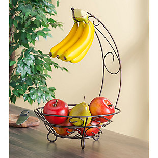 Home Basics Scroll Collection Steel Fruit Basket With Banana Tree, Bronze, , rollover