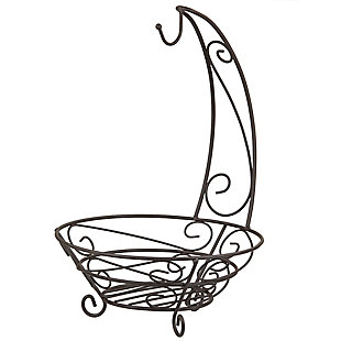 Home Basics Scroll Collection Steel Fruit Basket With Banana Tree, Bronze, , large
