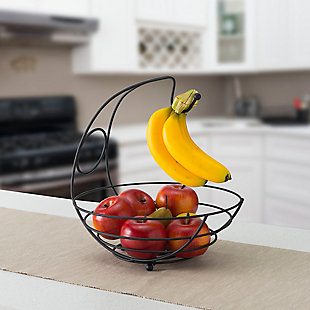 Home Basics Wire Collection Fruit Bowl with Banana Tree, Black, , rollover