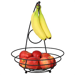 Home Basics Wire Collection Fruit Bowl with Banana Tree, Black, , large