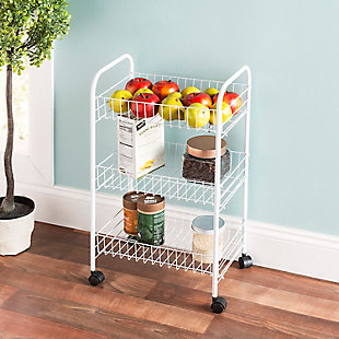 Home Basics Multi-Purpose Rolling Metal Kitchen Trolley, White, , rollover