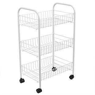 Home Basics Multi-Purpose Rolling Metal Kitchen Trolley, White, , large
