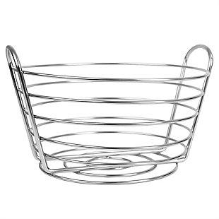 Home Basics Simplicity Collection Fruit Basket, Satin Chrome, , large