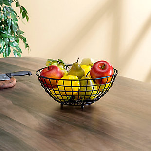 Home Basics Grid Collection Large Capacity Fruit Bowl, Black, , rollover