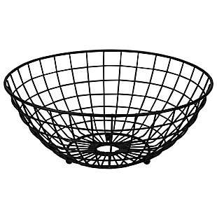 Home Basics Grid Collection Large Capacity Fruit Bowl, Black, , large
