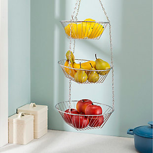 Home Basics 3 Tier Wire Hanging Round Fruit Basket, Chrome, , rollover