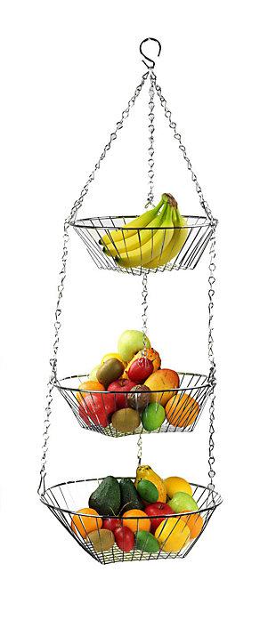 Home Basics 3 Tier Wire Hanging Round Fruit Basket, Chrome, , large