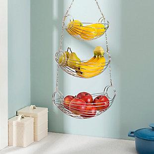 Home Basics 3 Tier Wire Hanging Oval Fruit Basket, Black, , rollover