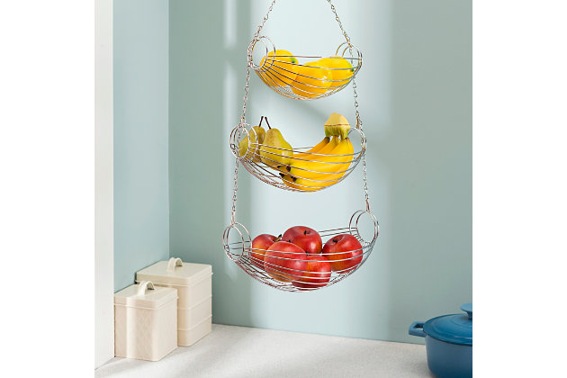 Home Basics 3 Tier Wire Hanging Oval Fruit Basket, Black, , large