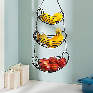 Home Basics 3-Tier Black Oval Hanging Basket, , rollover