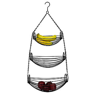 Home Basics 3-Tier Black Oval Hanging Basket, , large