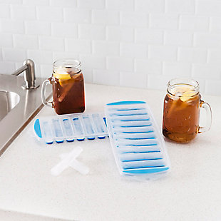 Home Basics Ultra-Slim Plastic Pop-Out Ice Cube Tray, (Pack of 2), Blue, , rollover