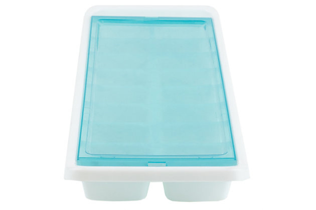 Home Basics 16 Compartment Square Plastic Stackable Ice Cube Tray with Snap-on Cover, Blue, , large