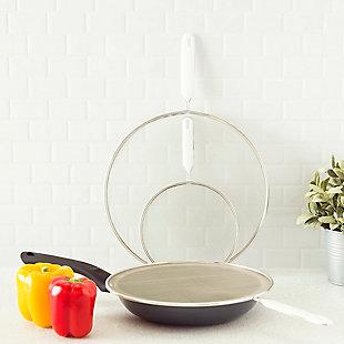 Home Basics 3 Piece Finely Netted Mesh Splatter Screen Set, White, , rollover