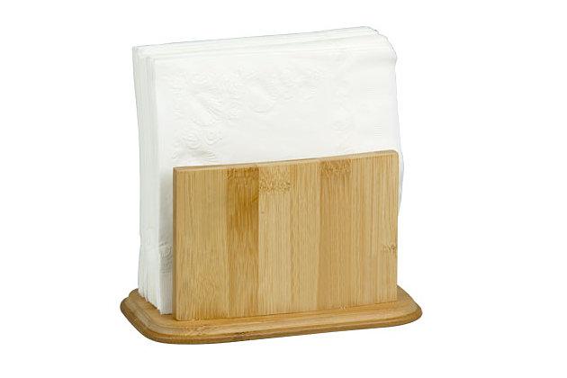 Home Basics Premium Bamboo Freestanding Large Capacity Napkin Holder, Natural, , large
