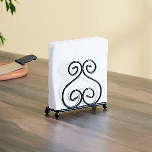Home Basics Scroll Collection Steel Napkin Holder, Black, , rollover