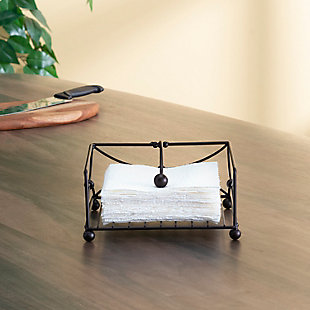 Home Basics Arbor Collection Flat Napkin Holder with Weighted Pivoting Arm, Oil Rubbed Bronze, , rollover