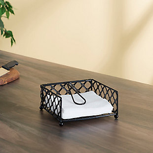 Home Basics Lattice Collection Flat Napkin Holder with Weighted Pivoting Arm, Black, , rollover