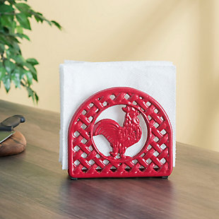 Home Basics Cast Iron Rooster Napkin Holder, Red, , rollover