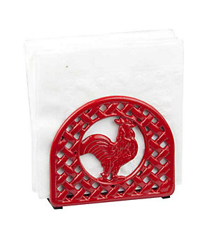 Home Basics Cast Iron Rooster Napkin Holder, Red, , large