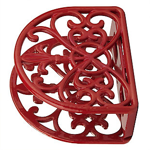 Home Basics Cast Iron Fleur De Lis Napkin Holder, Red, , large