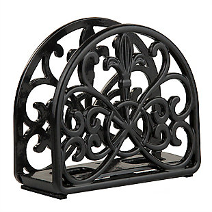Home Basics Cast Iron Fleur De Lis Napkin Holder, Black, , large