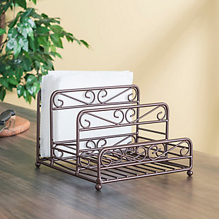Home Basics Scroll Collection Steel Salt And Pepper Napkin Caddy, Bronze, , rollover