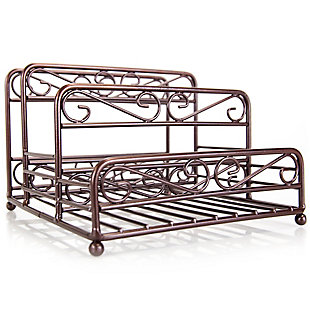 Home Basics Scroll Collection Steel Salt And Pepper Napkin Caddy, Bronze, , large