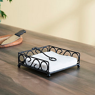 Home Basics Scroll Collection Flat Napkin Holder with Weighted Pivoting Arm, Black, , rollover