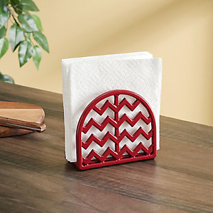 Home Basics Chevron Collection Cast Iron Napkin Holder, Red, , rollover