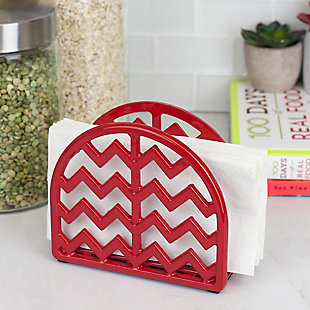 Home Basics Chevron Collection Cast Iron Napkin Holder, Red, , large