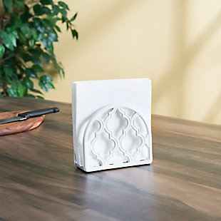 Home Basics Lattice Collection Cast Iron Napkin Holder, White, , large