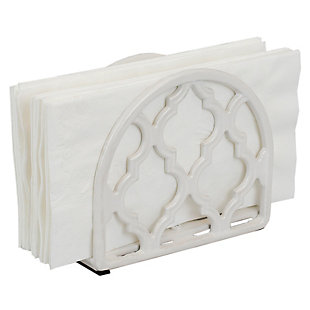 Home Basics Lattice Collection Cast Iron Napkin Holder, White, , large