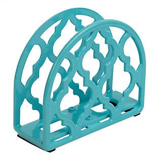 Home Basics Lattice Collection Cast Iron Napkin Holder, Turquoise, , large