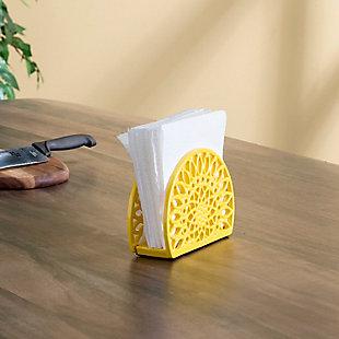 Home Basics Sunflower Cast Iron Napkin Holder, Yellow, , rollover