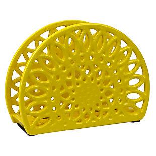 Home Basics Sunflower Cast Iron Napkin Holder, Yellow, , large