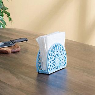 Home Basics Sunflower Cast Iron Napkin Holder, Blue, , rollover