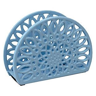 Home Basics Sunflower Cast Iron Napkin Holder, Blue, , large