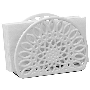 Home Basics Sunflower Cast Iron Napkin Holder, White, , large