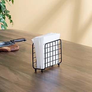 Home Basics Grid Collection Non-Skid Free Standing Napkin Holder, Black, , rollover