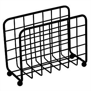Home Basics Grid Collection Non-Skid Free Standing Napkin Holder, Black, , large