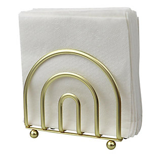 Home Basics Flat Wire Steel Free Standing Upright Non-Skid  Modern Napkin Holder, Gold, , large