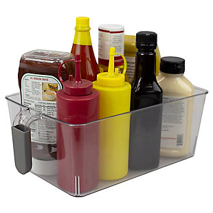 Home Basics Large Pull-Out Plastic Storage Bin with Soft Grip Handle, Clear, , large