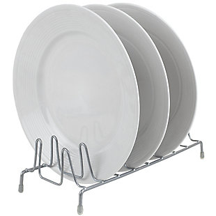 Home Basics Vinyl Coated Steel Plate Rack, Silver, , large
