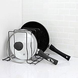 Home Basics Steel Lid Rack, Black Onyx, , large
